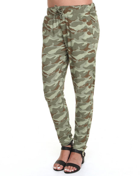 Basic Essentials - Women Camo All Over Camo Print Challis Drawstring Pants
