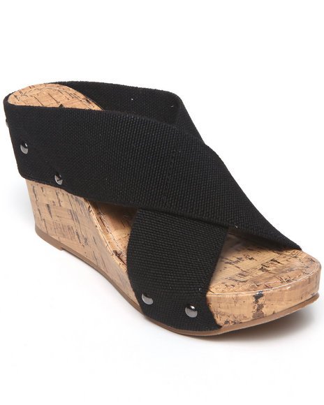 Xoxo - Women Black Bali X-Band Wedge Sandal