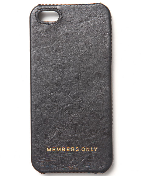 Members Only Men Iphone 5 Black Ostrich Genuine Leather Case (Fits Black