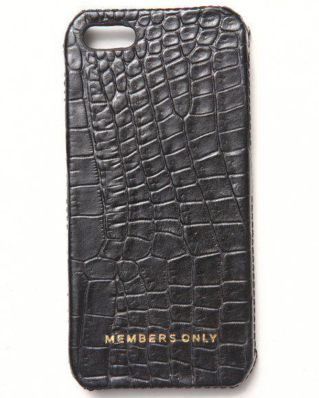 Members Only Men Iphone 5 Black Gator Genuine Leather Case (Fits 5/5S) Black