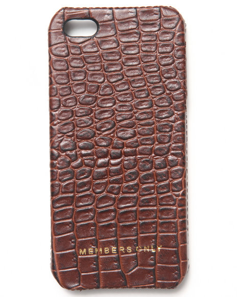 Members Only Men Iphone 5 Genuine Leather Gator Print Bumper Case Brown