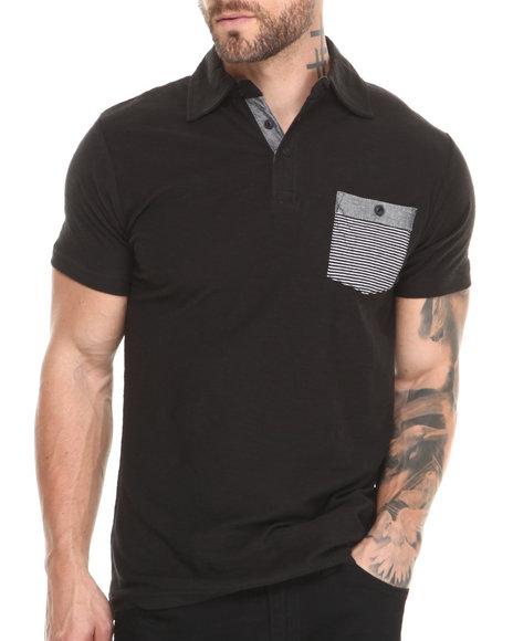 Buyers Picks - Men Black Contrast Chambray Pocket S/S Polo Shirt