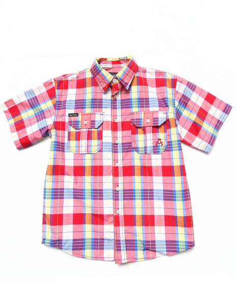 Akademiks Boys Red S/S Plaid Woven (8-20)