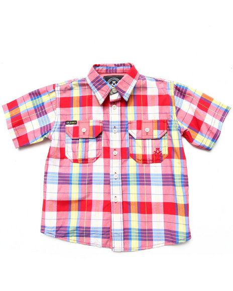 Akademiks - Boys Red S/S Plaid Woven (4-7)