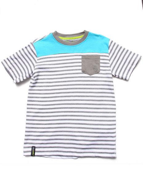 Akademiks - Boys Light Grey Stripe Blocked Tee (8-20)