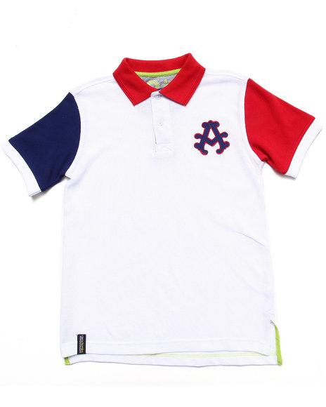 Akademiks - Boys White Colorblocked Polo (8-20) - $17.99
