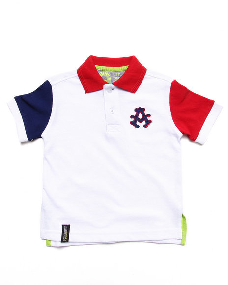 Akademiks - Boys White Colorblocked Polo (2T-4T)