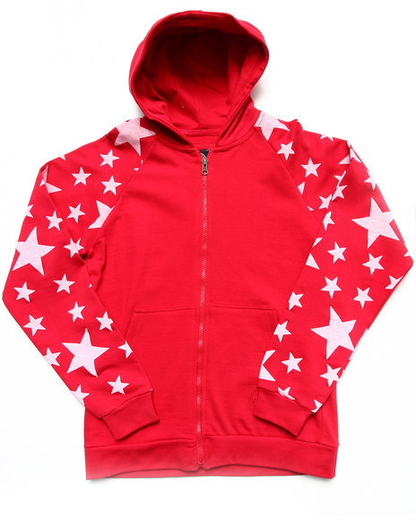 Akademiks - Boys Red All-Over Star Print Hoodie (8-20)