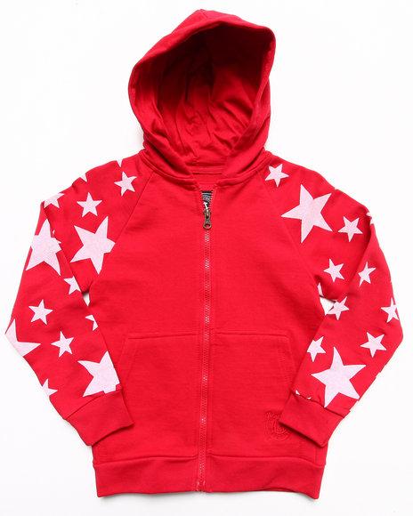 Akademiks - Boys Red All-Over Star Print Hoodie (4-7)