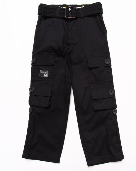 Akademiks - Boys Black Belted Cargo Pants (4-7) - $16.99