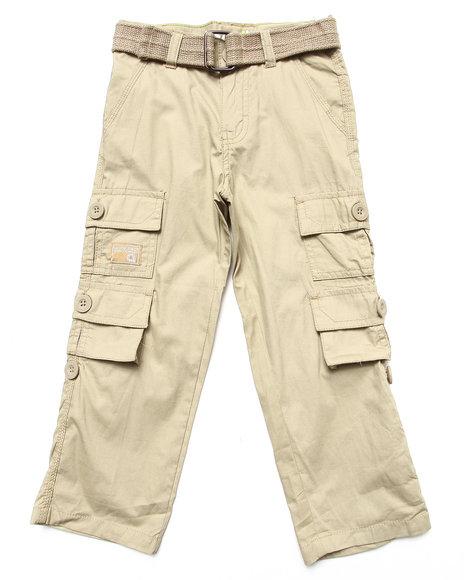 Akademiks - Boys Khaki Belted Cargo Pants (4-7)