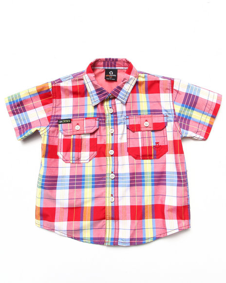 Akademiks Boys Red S/S Plaid Woven (2T-4T)