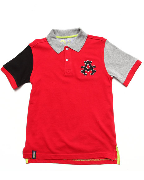 Akademiks Boys Red Colorblocked Polo (8-20)