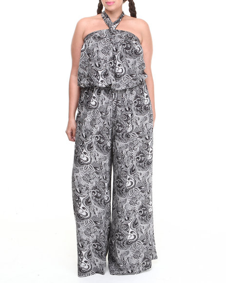 Summer B. - Women Black Ethnic Print Halter Jumpsuit (Plus)