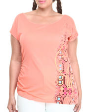 Women - Screen Print Asymmetrical Top (Plus)
