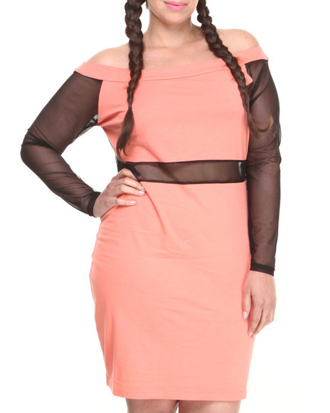 Baby Phat - Women Coral Off The Shoulder Mesh Insert Dress (Plus)
