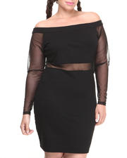 Dresses - Off the Shoulder Mesh Insert Dress (Plus)