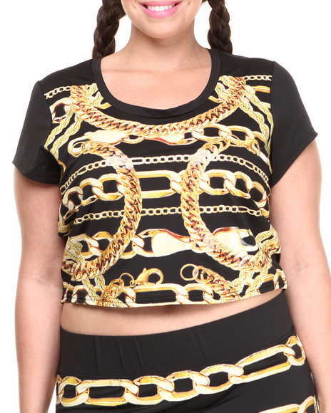 Coogi - Women Black Short Sleeve Chain Print Crop Top (Plus) - $14.99
