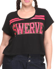 "COOGI - Short Sleeve ""Swerve"" Crop Top (Plus)"
