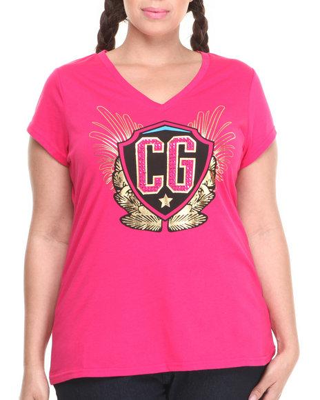 COOGI Pink Cg V-Neck Tee (Plus Size)