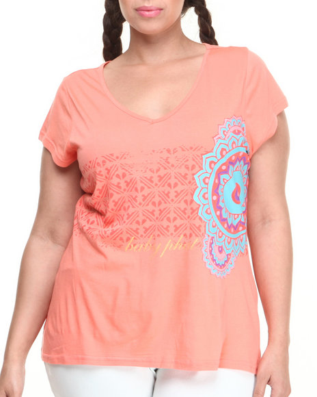 Baby Phat - Women Coral Gold Foil Print V-Neck Tee (Plus)