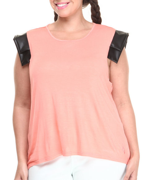 Baby Phat Coral Vegan Leather Cap Sleeve Top (Plus Size)
