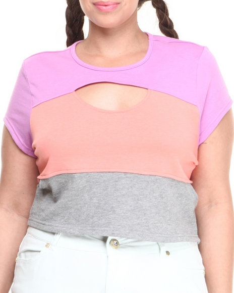 Baby Phat - Women Multi,Pink Colorblock Active Cropped Top (Plus)