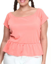 Baby Phat - Off the Shoulder Zip Back Peplum Top (Plus)