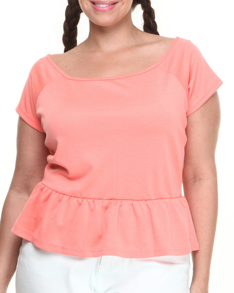 Baby Phat - Women Coral Off The Shoulder Zip Back Peplum Top (Plus)