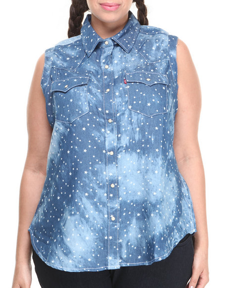 Levi's Blue Tie Dye Stars Muscle Sleeveless Button Down (Plus Size)