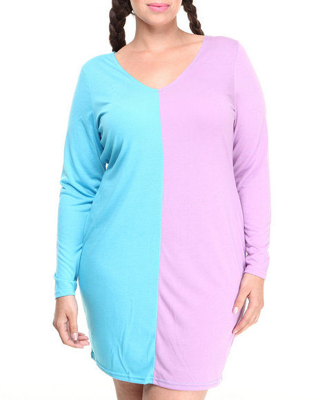 Coogi - Women Blue,Purple Deep-V Two-Tone Bodycon Dress (Plus)