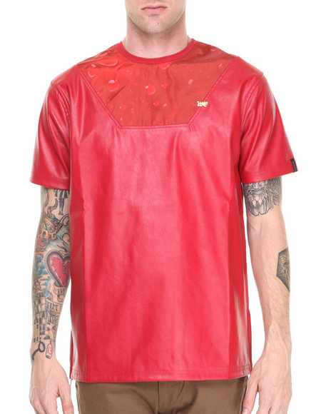 Well Established Red Rain Drop Sublimation Tee W/ Vegan Leather Accents