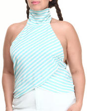 Women - Stripe Mock Neck Halter Top (Plus)