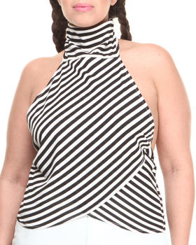 Baby Phat - Stripe Mock Neck Halter Top (Plus)
