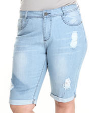 Fashion Lab - Bleaced Rip & Repair Denim Bermuda Shorts (Plus)