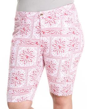 Fashion Lab - Bandana Print Bermuda Shorts (Plus)