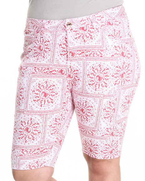 Fashion Lab - Women Red Bandana Print Bermuda Shorts (Plus)