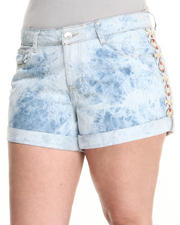 Fashion Lab - South Western Embroidered Side Stripe Denim Shorts (Plus)