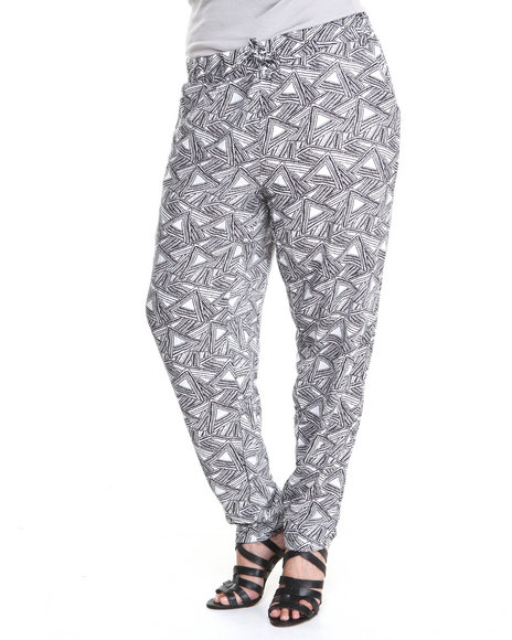 Fashion Lab - Abstract Thing Allover Abstract Print Challis Drawstring Pants (Plus)