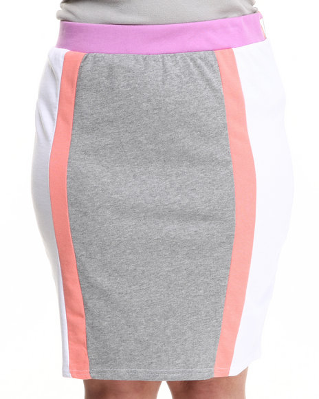 Baby Phat Multi,Pink,White Colorblock Active Skirt (Plus Size)