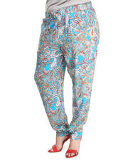 Fashion Lab - Blue Allover Paisley Challis Drawstring Pants (Plus)
