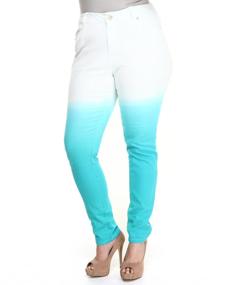 Baby Phat - Women Teal Dip Dye High Waisted Jean