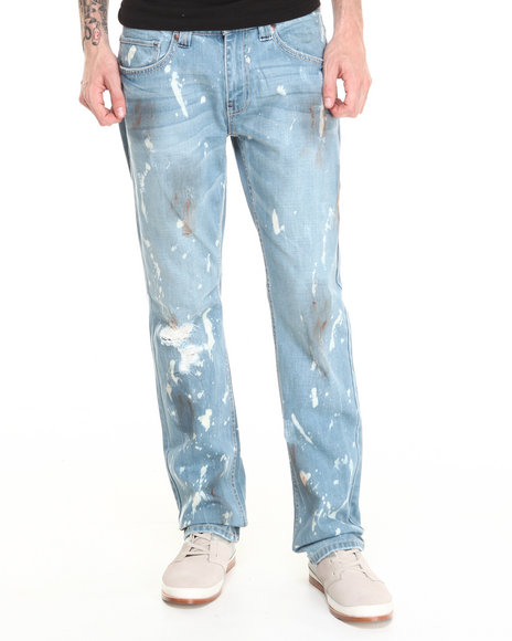 Buyers Picks - Men Light Wash Slat Wash Premium Straight Fit Denim Jeans