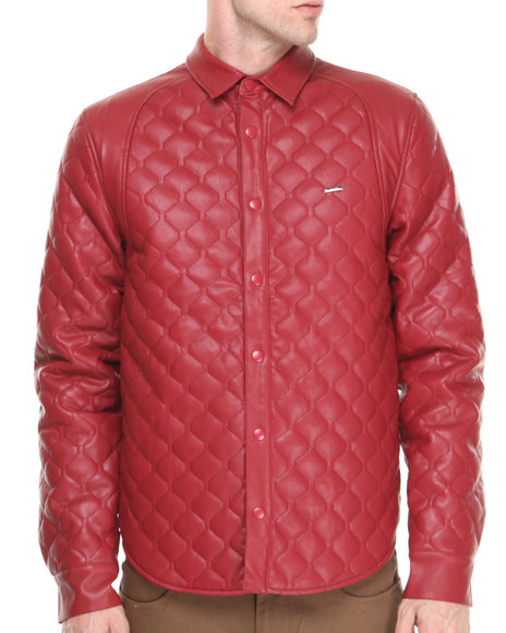 Kite Club Red Dmd Quilted Faux Leather Button Down Shirt