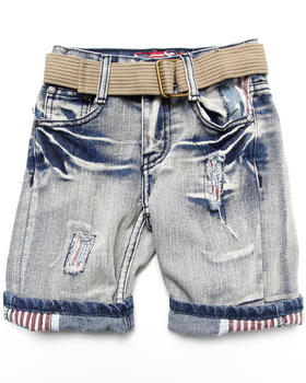 Arcade Styles - AMERICAN RIP N' REPAIR DENIM SHORTS (4-7)