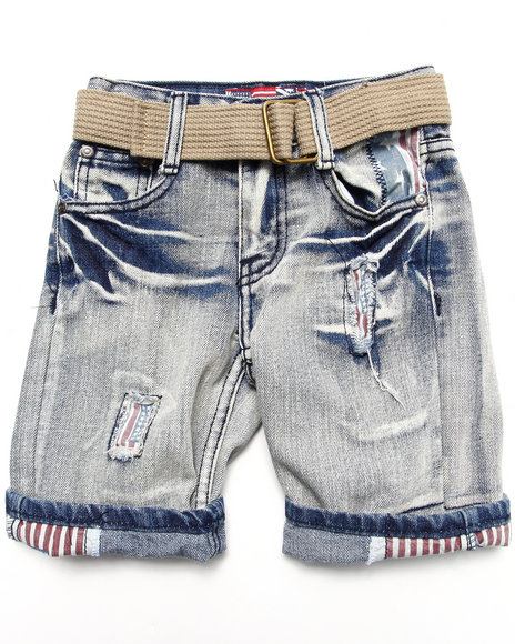 Arcade Styles - Boys Light Wash American Rip N' Repair Denim Shorts (4-7)