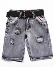 Arcade Styles - BELTED DISTRESSED BLEACH DENIM SHORTS (4-7)