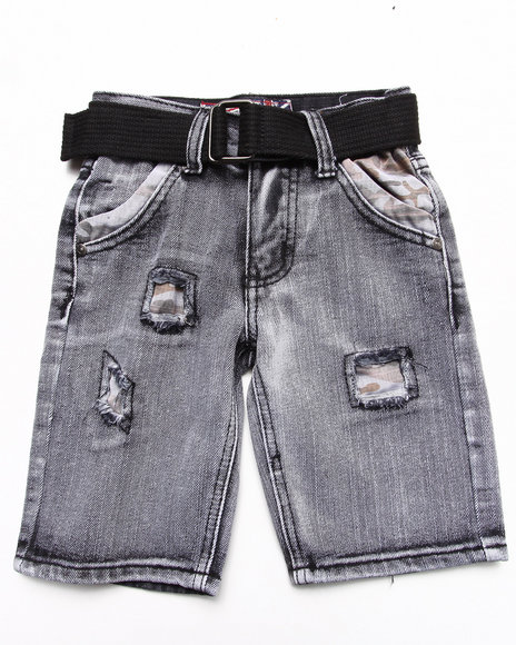 Arcade Styles - Boys Black Belted Distressed Bleach Denim Shorts (4-7)