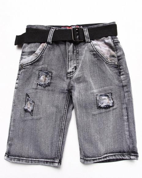 Arcade Styles - Boys Black Belted Distressed Bleach Denim Shorts (8-18)