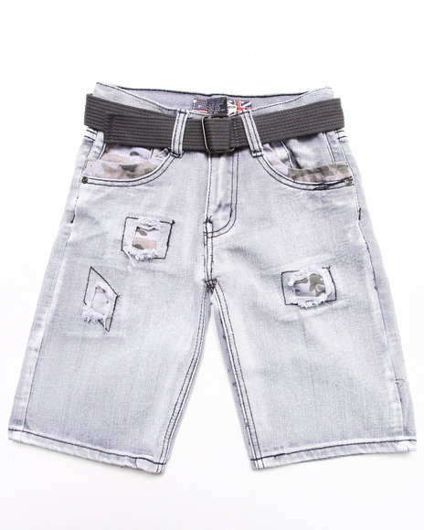 Arcade Styles - Boys Light Grey Belted Distressed Bleach Denim Shorts (8-18)